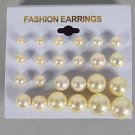 Earrings 12per Cream Pearl Mix Size/DZ ** Cream Color pearls**
