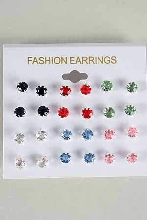 Earrings 12Per Pastel Color Studs /DZ Choose Colors Silver Pastel