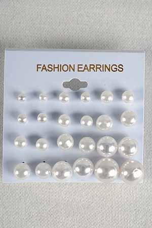 Earrings 12per White Pearls mix sizes/dz White