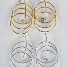 Earrings 3 Circle With Clear Rhinestones/DZ ** New Arrival** Choose Gold Or Silver