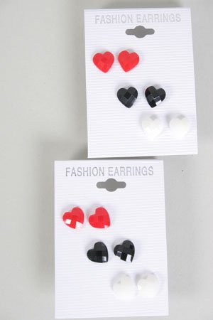 Earrings 3 Per Poly Hearts Red White Black Mic/DZ **New Arrival** Color Asst