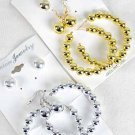 Earrings 3per Beads/DZ choose Gold Or Silver Finish