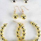 Earrings 3per Gold Beads/DZ Gold