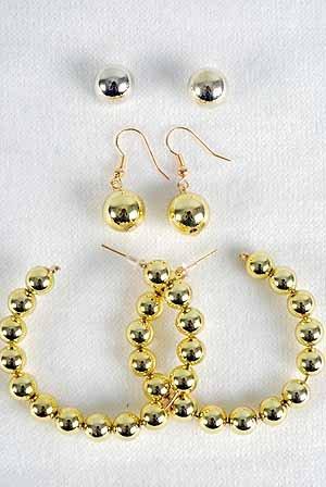 Earrings 3per Gold Beads/DZ Gold