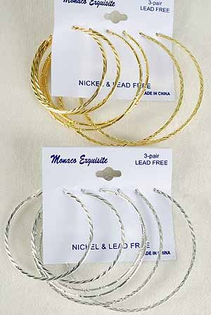 Earrings 3per Hoop 3 Size Mix 5 6 7cm mix/DZ Choose Gold Or Silver Finish