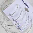 Earrings 3per Hoop Silver 5 6 7cm Mix /DZ Silver