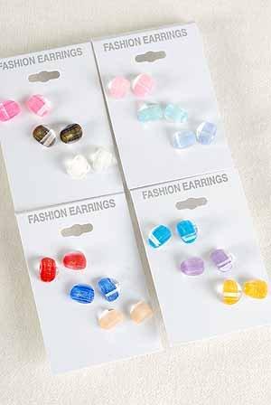 Earrings 3per Italian Poly W Metallics/DZ 4Color Asst