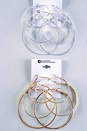 Earrings 3per Large Hoop Mix sizes/DZ choose gold or silver - DEY003 DEY002/
