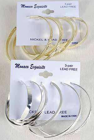 Earrings 3per Loops Mix Style & Sizes/DZ Choose Gold Or Silver Finish
