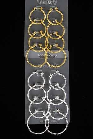 Earrings 4per Hoop Twist/DZ ** New Arrival** Gold Or Silver Finish