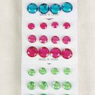 Earrings 6per Acrylic Stones Color Mix/DZ Color Asst -