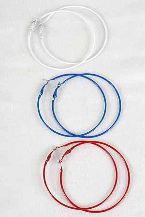 Earrings 7cm Color Hoops Asst Colors/DZ 8 Color Asst