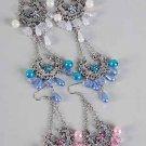Earrings Antique Flower Print W Pearl Drops/DZ ** New Arrival** 6 Color Asst, Victorian Look