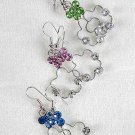 Earrings Brass Flower Shape W Rhinestone Dangle/Dz **Special Promation** 6 Color Asst