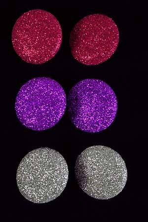 Earrings Button W Glitters**Clip ON** **Clip On** 6 Color Asst