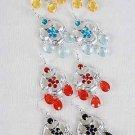 Earrings Cast Flower Shape W Color Stones/DZ/DZ ** New Arrival** 6 Color Asst