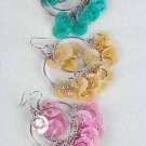 Earrings Chandelier W Paper Shells/DZ Blue Pink Yellow White Lime orange 6Color Asst