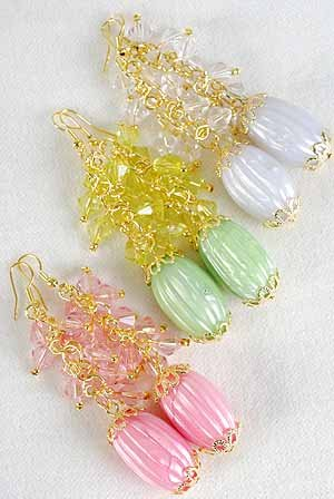 Earrings Crystal With Silky Marble Drop 3.5'' Long/DZ 6 Color Asst