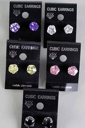Earrings CZ Cubic 8mm Flower Cut Color Asst /DZ ** New Arrival** 8mm Cubic Zirconium 6 Color Asst