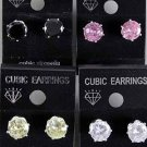Earrings CZ Cubic 8mm Round Shape Color Asst/DZ **New Arrival** 8mm Cubic Zirconium 6 Color Asst