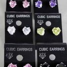 Earrings CZ Cubic 9mm Heart Shape Color Asst/DZ ** New Arrival** 9mm Cubic Zirconium 6 Color Asst