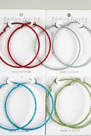 Earrings Glitter Loop 7cm Color asst/DZ **New Arribval** 6 Color asst