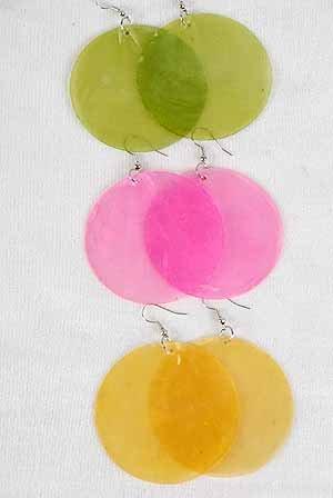 Earrings Jumbo Circle Paper Shells/Dz ** New Arrival** 6 Color Asst, Size 2.5''x2.5''