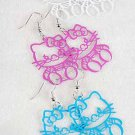"Earrings Kitty Cat Color Asst 1.5"" Long/DZ 6 Color Asst"