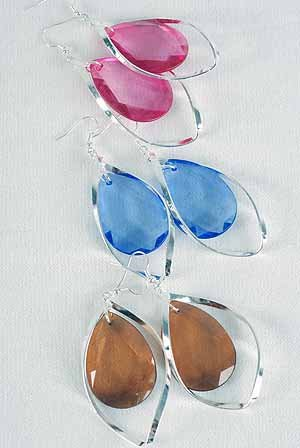 "Earrings large Acrylic Stone W Fish Hoop/DZ 2.5""x1.5"",6 Color Asst - SS"