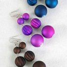Earrings Large Ball Matte Dangle Color Asst/DZ **NEW** 6 Color Asst