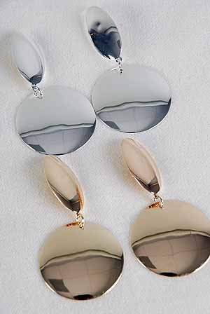 Earrings Large Circle Drop Clip ON/DZ **Clip On**Choose Gold Or Silver Finish