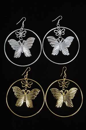 Earrings Large Circle W Butterfly/DZ ** New Arrival** Choose Gold or Silver Finish
