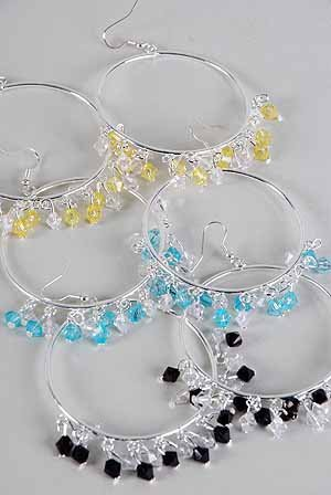 Earrings Large Circle W Color Crystal Drops/DZ ** New Arrival** 6 Color Asst