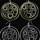 Earrings Large Circle W Filigree Hearts 3''x3''/DZ ** New Arrival** Choose Gold or Silver