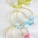Earrings Large Hoop With Acrylic Square Block/DZ 6 Color asst
