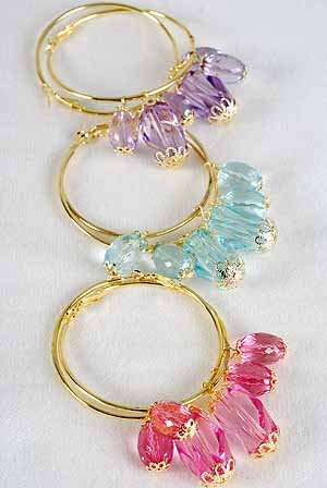 Earrings Large Loop With val Acrylic Drops 2.25''x2.5'' /Dz 6 Color asst