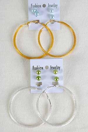 Earrings Large Mesh Loop 2.5'' & 2 pearl balls/DZ ** New arrival** Choose Silver or Gold