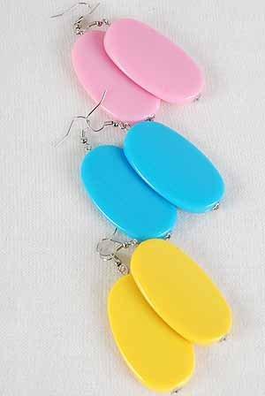 Earrings Large Oval Acrylic Color Asst 2''x1.25''/DZ ** New Arrival** 6 Color Asst