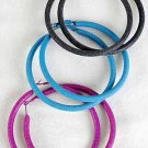 Earrings LargeColor Pipe Hoop 3''Wide With Sandy finish/D 6 Color Ass