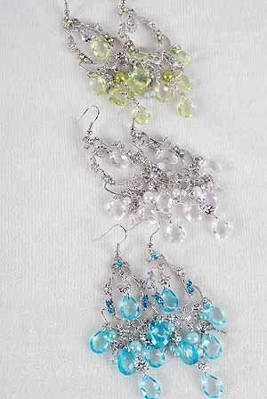 Earrings Lucite W Chandeliers,6 Color Asst/DZ 2.75''x1'' choose gold or silver finish