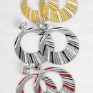Earrings Metal Circle Dange W Epoxy **CLIP ON**/DZ **CLIP ON**6 Color Asst, CHOOSE Gold or Silver
