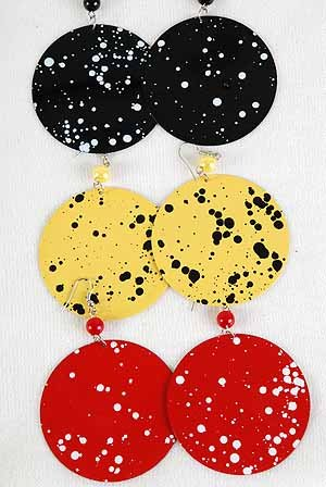 Earrings Metal Circle Disk W Spray Paint/DZ * New Arrival** 6 Color Asst