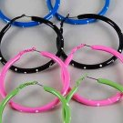 Earrings Metal Loop Pipe Hoop W Polka Dots 7cm/DZ ** New Arrival** 7cm 6 Color Asst