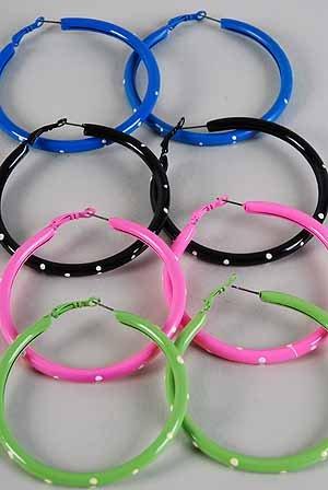 Earrings Metal Loop Pipe Hoop W Polka Dots 7cm/DZ ** New Arrival** 7cm 6 Color Asst