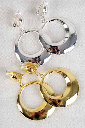"""Earrings Metal Round Shape Clip On1.5""""x 2.5"""" Long/DZ **Clip On** Choose Gold Or Silver"""