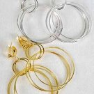 Earrings Metal Shinely Circle Dangles Clip On/DZ **Clip On** Choose Gold Or Silver Finish