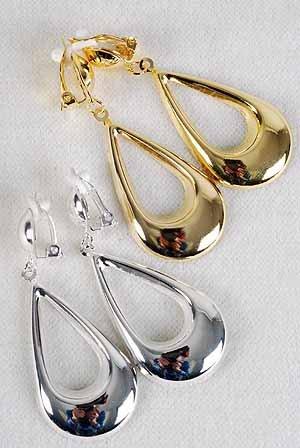 """Earrings Metal Teardrop Dangle Clip On 2.25"""" Long/DZ **Clip On** Choose Gold Or Silver"""