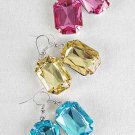 Earrings Oblong W Acrylic Stones 6Color Asst/DZ **POST**6 Color Asst