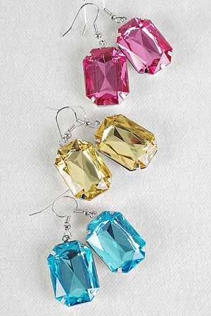 Earrings Oblong W Acrylic Stones 6Color Asst/DZ **POST**6 Color Asst