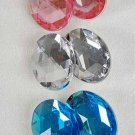 Earrings Oval Shape W Acrylic Stones Clip On/DZ **CLIP ON** 6 Color Asst